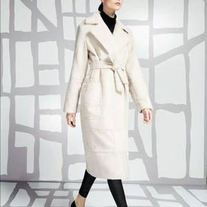MAX MARA + LIU WEI Wool Silk Angora Beige Wrap Belted Coat 2 4 6 NWOT$2100